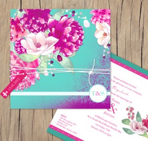 botanical burst wedding invitation