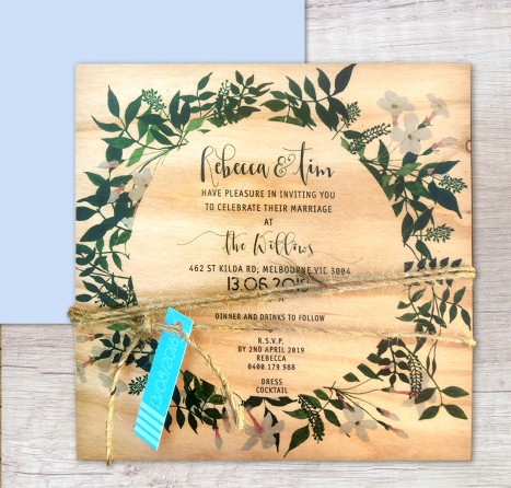 Printed on wood! Rambling love invitation