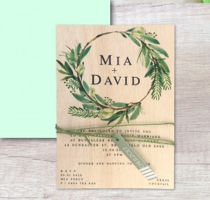 Printed on wood! Watercolour lush invitation