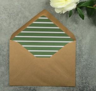 Green striped envelope liner