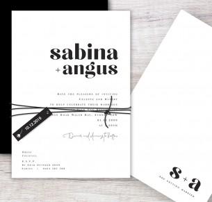Pure flat card wedding invitation