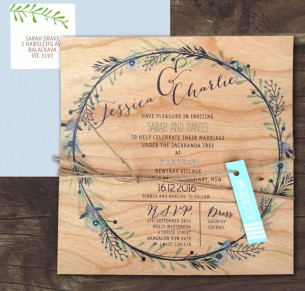 Printed On Wood Circle Of Blossoms Invitation