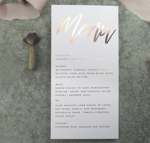 metallic rose gold and gold foil! Santa fe menu