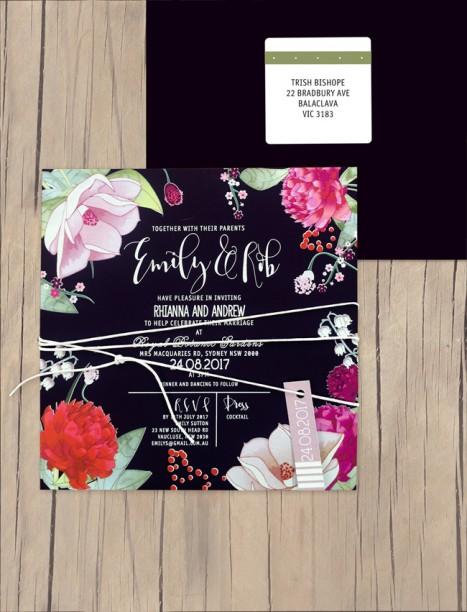 efflorescence white ink+colour on black invitation
