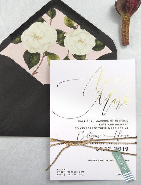 Rose gold and gold foil! Oh so chic invitation