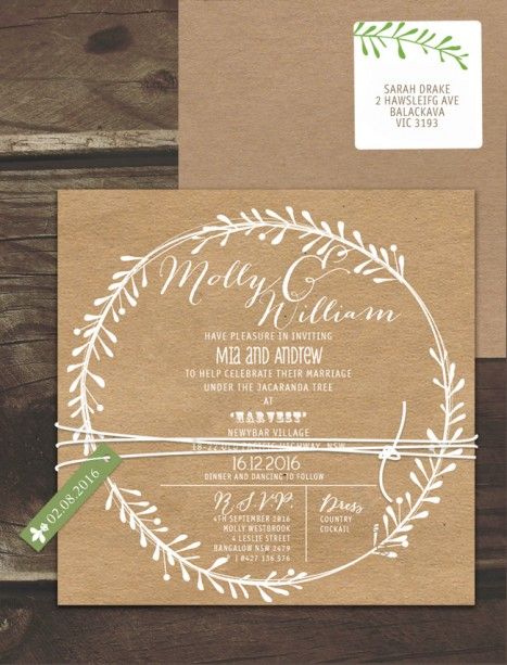 Rustic Leaf Wreath White Ink On Kraft Invitation Online Australia