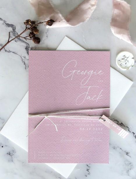 Georgie white ink wedding invitation
