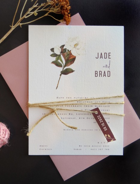 Steal Magnolias flat card wedding invitation