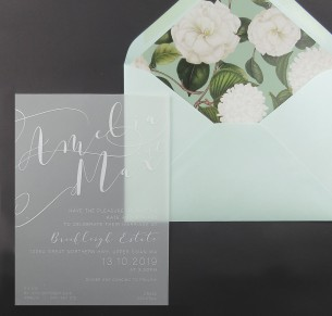 transparent Vellum and white ink sheer magic invitation