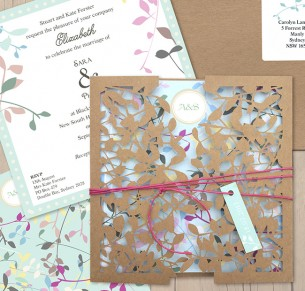 leafy affair kraft laser cut invitation