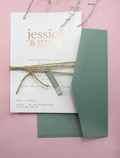rose gold jessica invitation