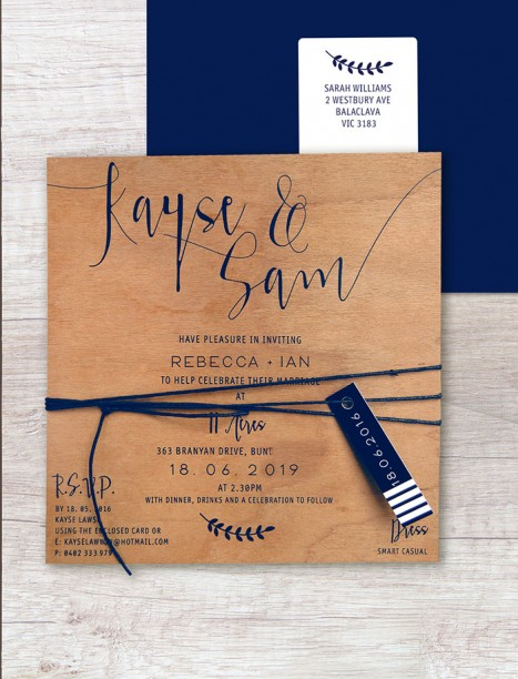 printed on wood! Simply sublime invitation