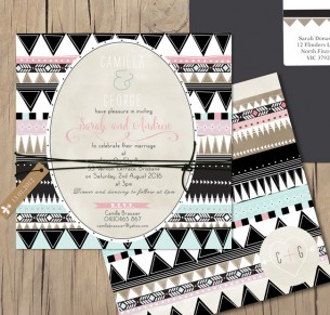 Tribal vibe flat card invitation