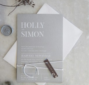 Dove grey and white ink milan invitation