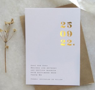 save the date! metallic gold and rose gold numero uno
