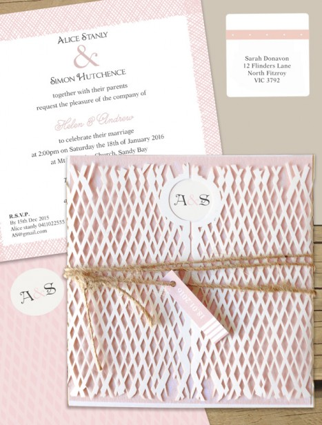 Lattace lovers milk laser cut wedding invitation