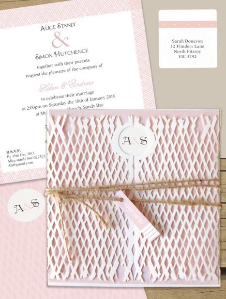 Lattace lovers milk laser cut wedding invitation