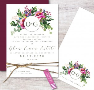 pop of colour flat card invitation