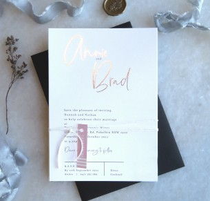 metallic rose gold and gold foil the brad invitation