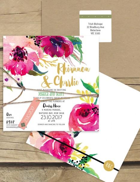 Une Fleur watercolour flat card invitation