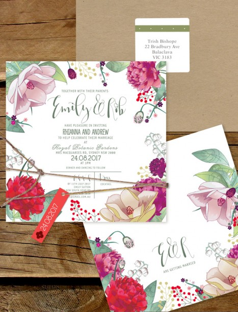 efflorescence flat card invitation