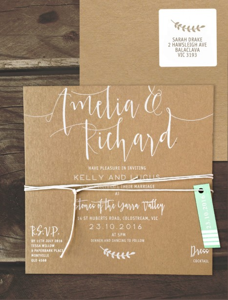simply sublime white ink on kraft invitation