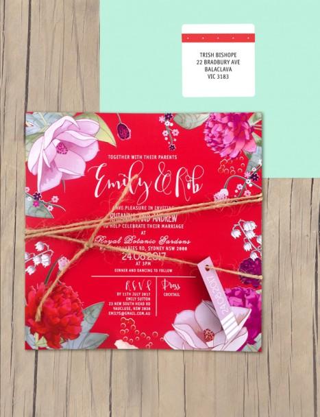 efflorescence white ink+colour on coloured invitation
