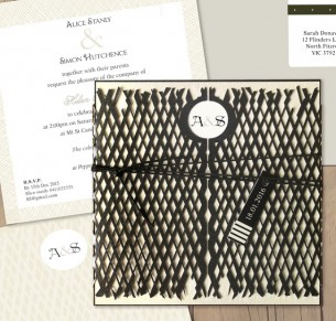 Lattace lovers ebony laser cut invitation