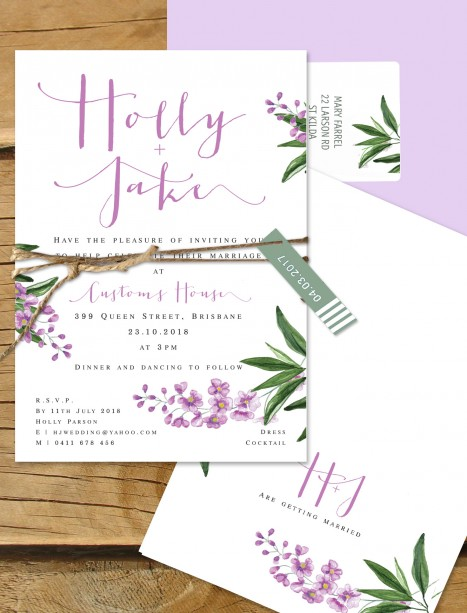 Paris in the springtime FLat card invitation