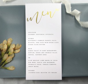 gold and rose gold foil quick kiss menu