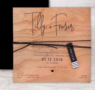 Printed on wood! Devotion invitation