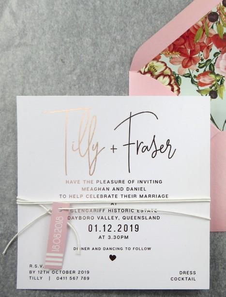 Rose gold foil! devoted invitation