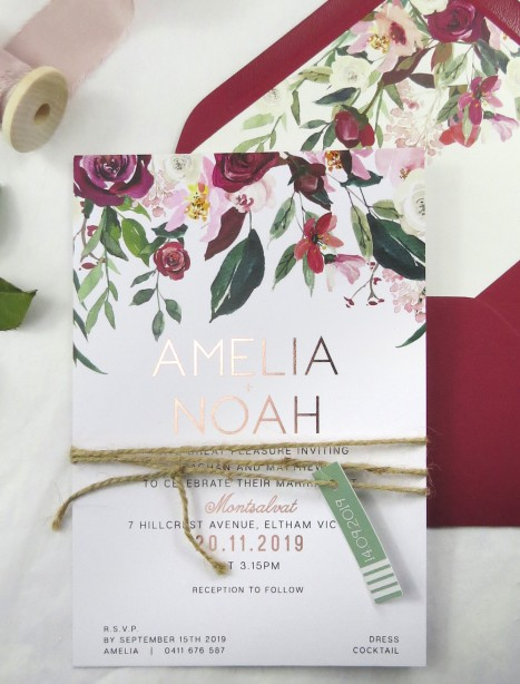 metallic Rose gold and gold foil bordeaux invitation