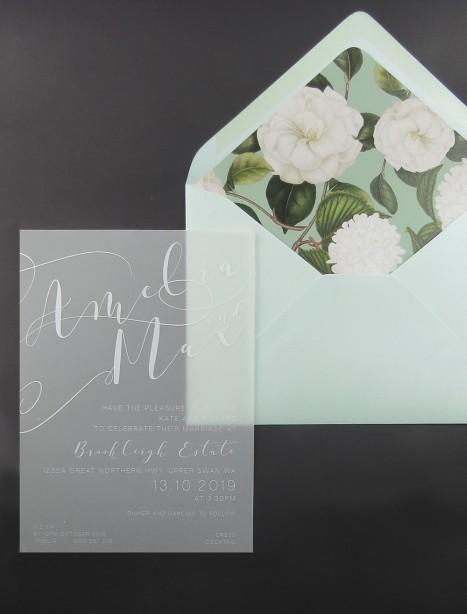 transparent Vellum and white ink sheer magic invitation