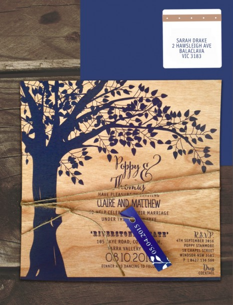printed on wood! under the old oak invitation