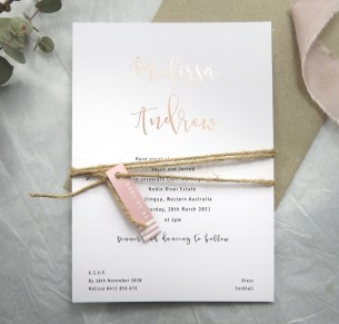 rose gold and gold venice invitation