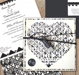 aztec hearted milk laser cut wedding invitation