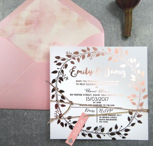 Rose Gold and gold foil! Grecian garland invitation