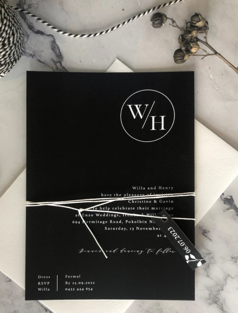 The executive white ink invitation