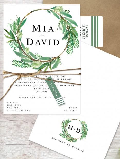 watercolour lush flat card invitation