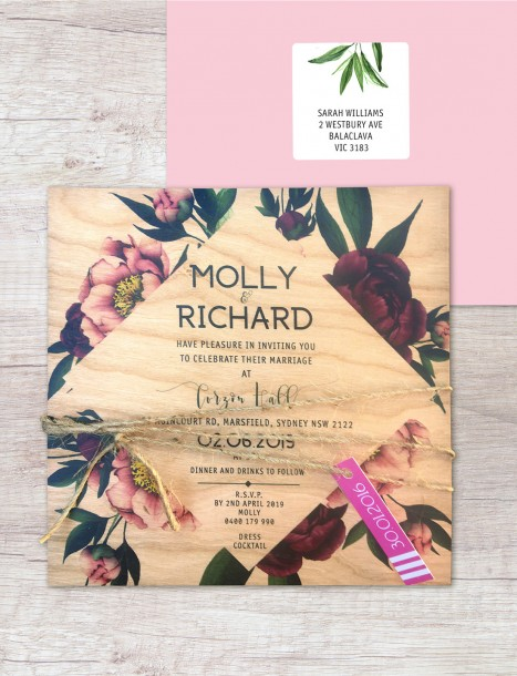 Printed on wood! Vintage peonie invitation