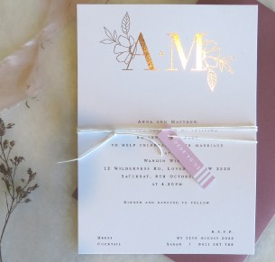 Metallic rose gold and gold foil the romance invites
