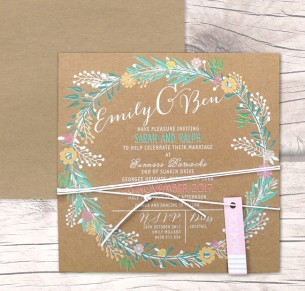 charmed white ink - colour on kraft invitation