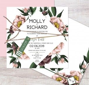 Vintage Peonie flat card invitation
