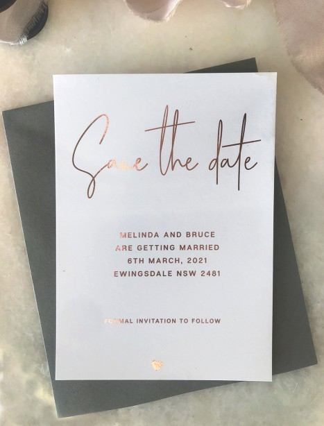 save the date flirtation metallic rose gold foil