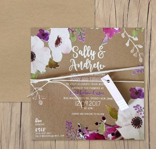 White ink + colour on kraft - flowers in the field invitation