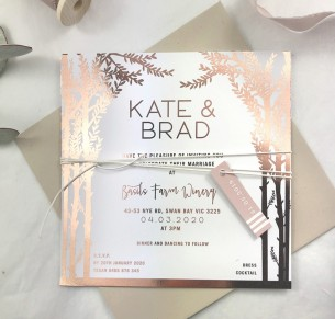 Metallic Rose gold and gold foil! Enchanted forrest invitation