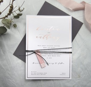 metallic rose gold foil J'aDore invitation