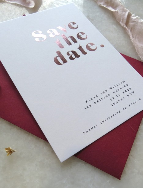 save the date! metallic rose gold pure invitation