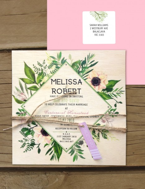 printed on wood! evergreen invitation